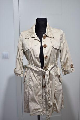 Płaszcz wiązany beż retro