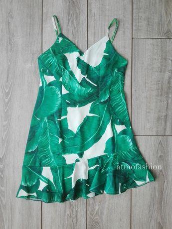 shein romwe sukienka w liście palmy ezgotyczny wzór hit lato falbana
