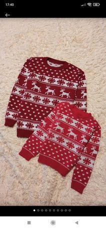 Family look новогодний свитер мама+ дочь