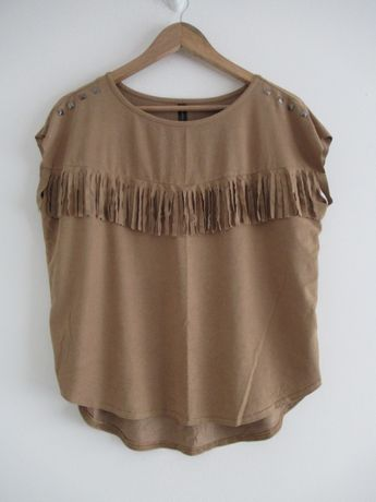 Brązowa bluzka koszulka KappAhl boho frędzle ćwieki oversize M