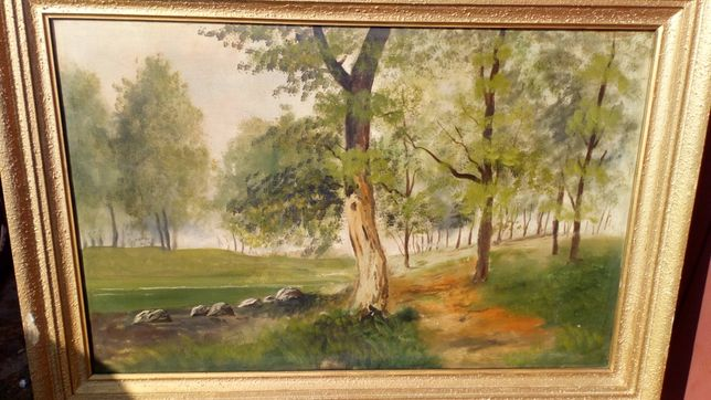 Obraz olej rama pejzaż krajobraz las łąka dzieło wielki ogromny