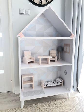 Domek dla lalek stylowy skandynawski z wyposazeniem mebelki