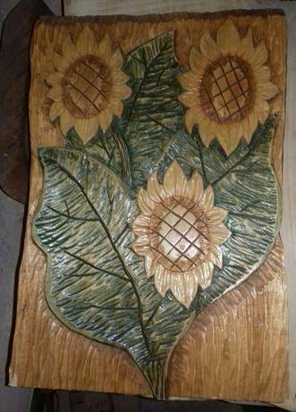 Płaskorzeźba na drewnie lipowym