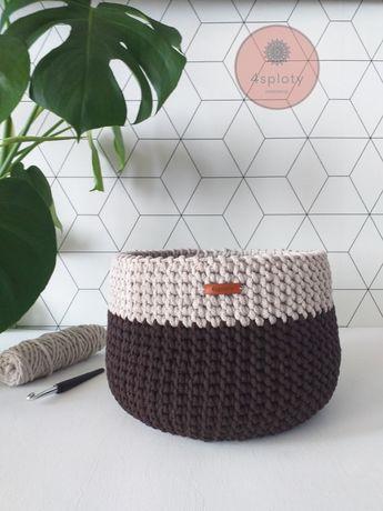Kosz koszyk organizer ręcznie zrobiony na szydełku rękodzieło handmade