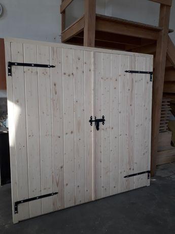 """Brama Garażowa Drzwi Drewniane gospodarcze GARAŻOWE podwójne typu """"Z"""""""