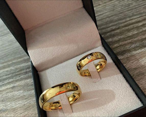 Wspaniała Para Złotych Obrączek Ślubnych