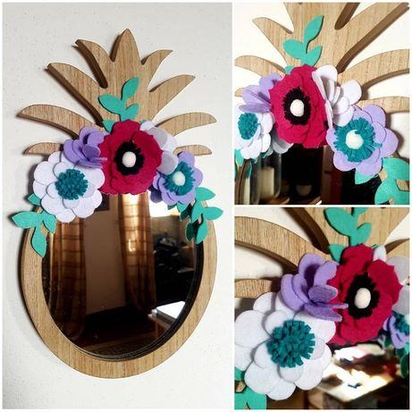 Espelho com toque floral - Rosa e Azul