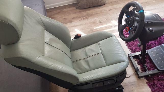 Fotel BMW e39 szara skóra do gier, simracingu