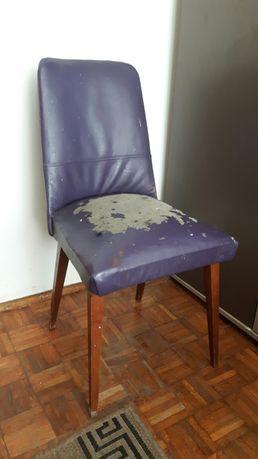 Fotel krzesło z czasów PRL-u + drugie + taboret