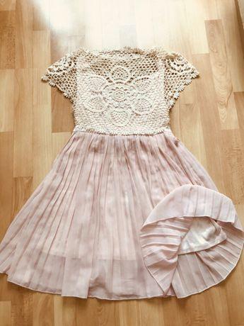 Koronkowo-tiulowa sukienka/ tunika z haftem,boho,hippie,plisowana, M/L
