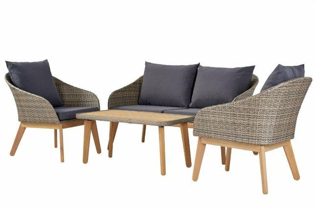Meble Ogrodowe Sofa + 2 Fotele + Stolik + Poduszki Akacja Technorattan