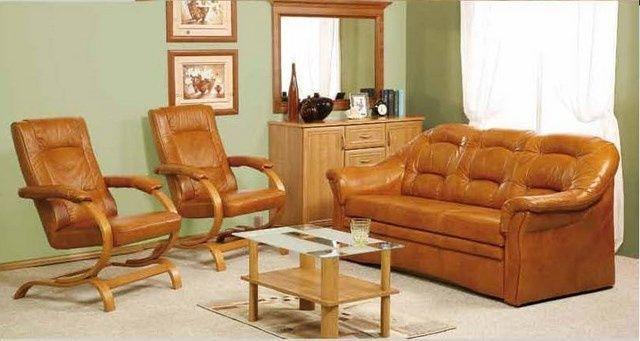 Zestaw komplet wypoczynkowy Sofa + 2 fotele naturalna skóra PRODUCENT