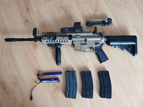 Replika M4 SIR black-tan, full metal, tuning, ZESTAW!