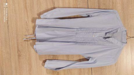 Dziewczęca błękitno-biała koszula z długim rękawem