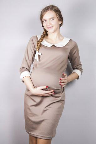 Sukienka ciążowa cappuccino z kremowym kołnierzykiem S