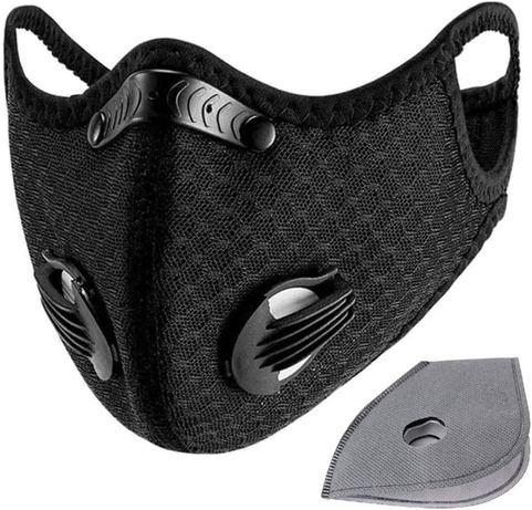 Maska sportowa antysmogowa czarna + filtry
