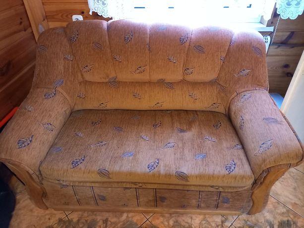 Sofa i 2 fotele - brązowe liście