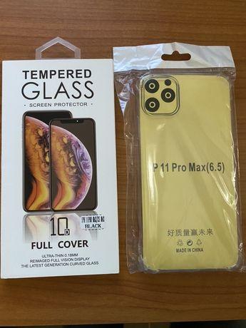 Capa transparente + Película de Vidro Temperado para iPhone 11 Pro Max