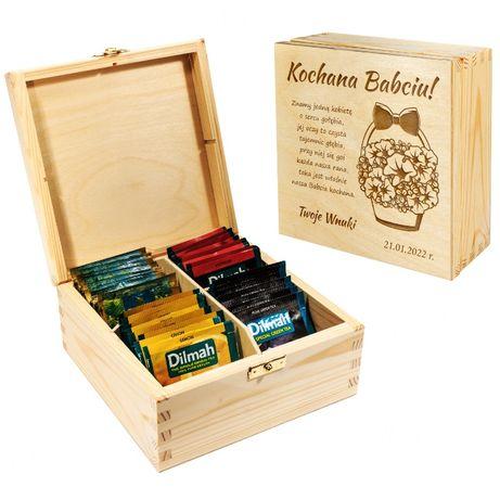 Grawerowane pudełko dla Babci i Dziadka z herbatą