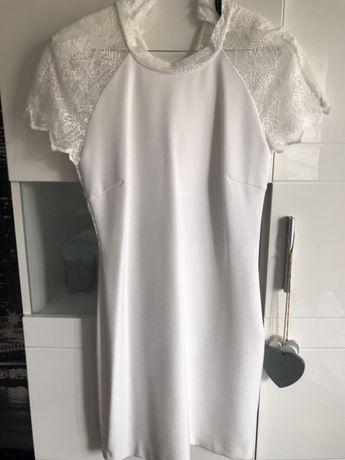 Sukienka zara koronka ecru s/m