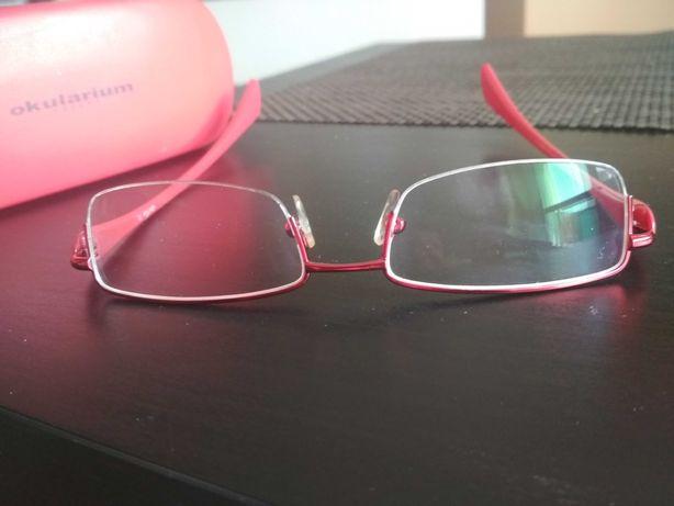 Okulary korekcyjne oprawki czerwone, powłoka ochronna