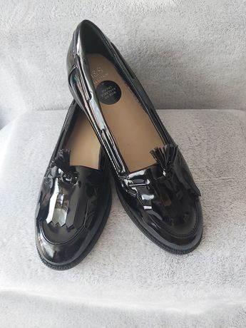 Buty damskie mokasyny lakierowane