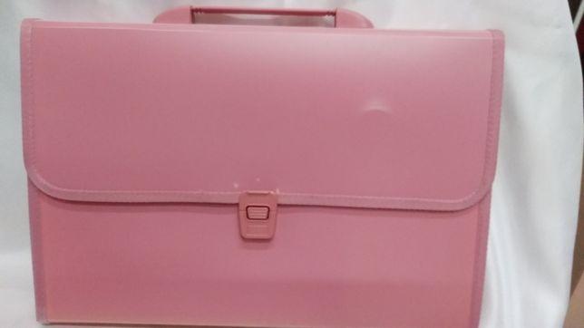 Пластиковый портфель розового цвета.