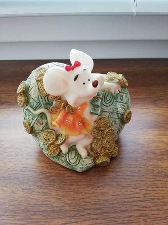 Копилка детская мышка статуэтка сувенир подарок из гипса