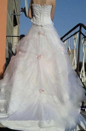 OKAZJA Bajkowa Wyjątkowa suknia ślubna haft tren róże księżniczka 36 S