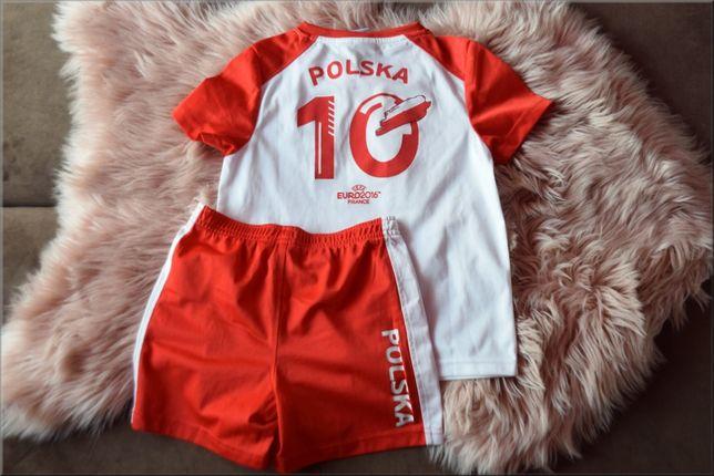 Zestaw t-shirt i spodenki, Polska, 10, czerwono - białe