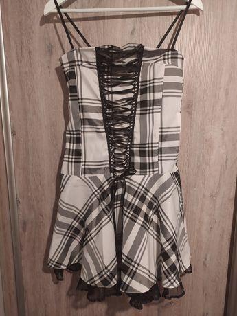 Sukienka kratka biało czarna gorset ramiączka falbanka fiszbiny S/M