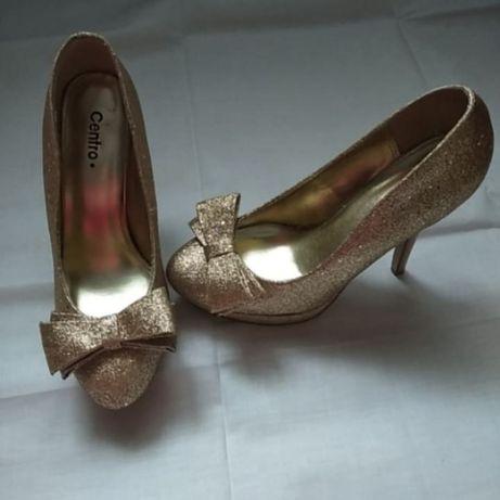 Centro.нарядные туфли. туфли Centro.туфли на шпильке. золотистые туфли