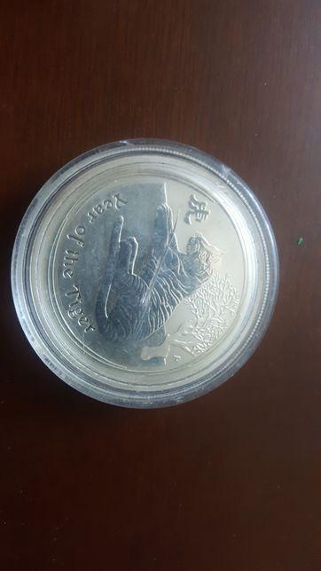 "Серебряная монета Австралия, 50 cents ""Год Тигра"""