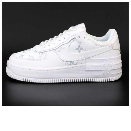 Женские белые кожаные кроссовки Nike Air Force 1 Shadow Louis Vuitton