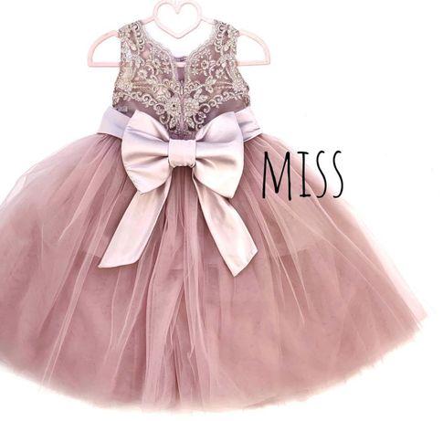 Фатиновое платье нарядное с кружевом святкова сукня родева з фитину