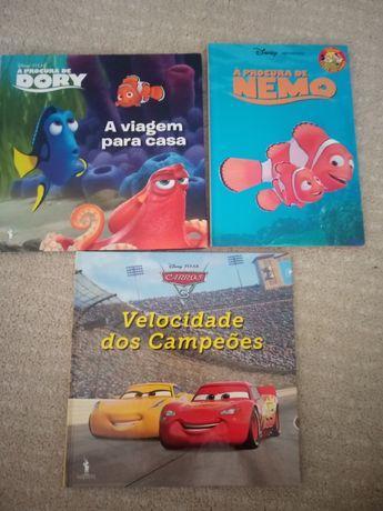 3 livros da DISNEY (carros FAÍSCA , procura Nemo , dory) NOVOS