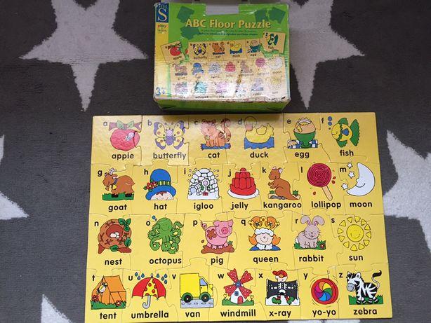 Duże puzzle 26 elementów alfabet angielski słówka