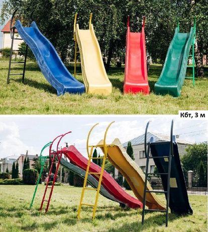 Детские горки спуски длиной от 1,2 метра до 3 м, подключение воды