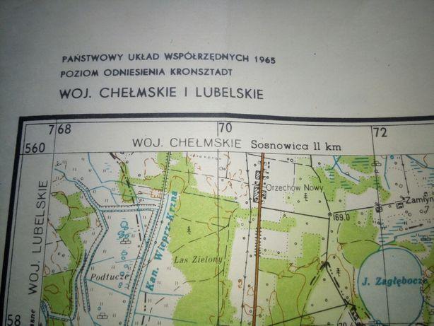 Mapy topograficzne Polski np Pojezierze Łeczyńsko-Włod,Roztocze i inn