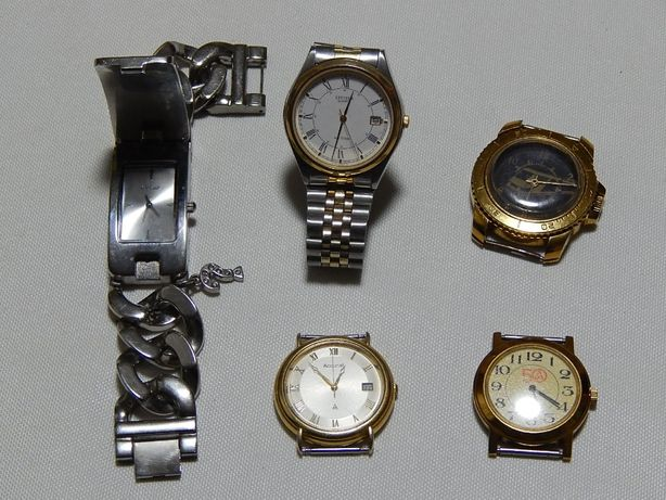 Часы кварц 5 штук - CITIZEN, Accurist, GUESS... Цена за весь лот.