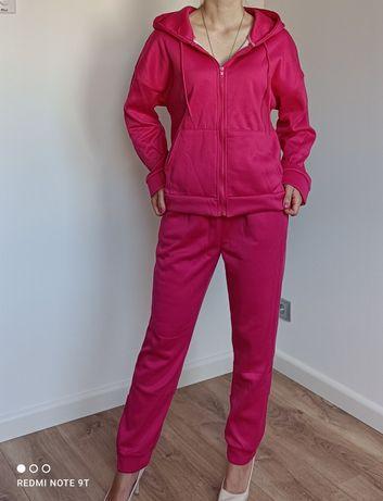 Nowy różowy dres damski komplet dresowy bluza spodnie amarant fuksja s