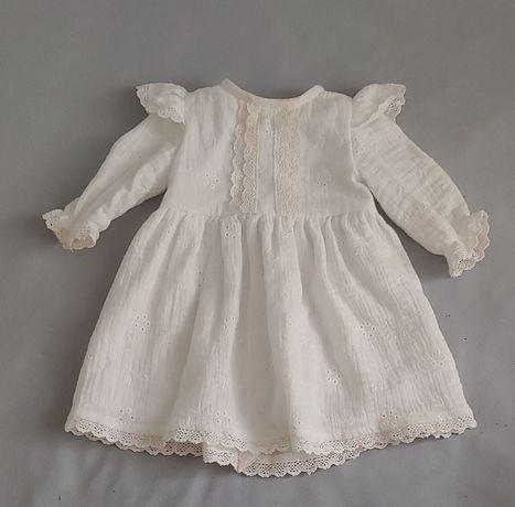 Piękna sukienka biała chrzest rozmiar 56
