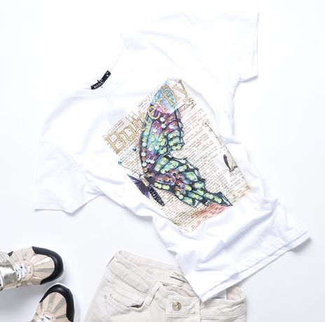 Mint Bluzka t-shirt Motyl gazeta cekiny cyrkonie biała czarna S M L