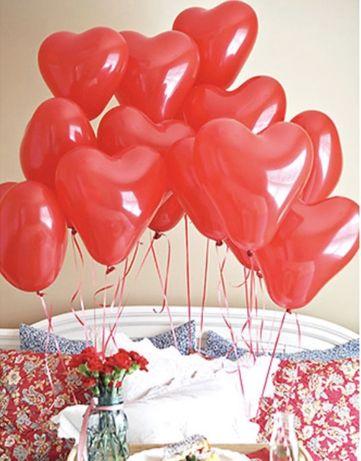 Balon czerwone serce na hel ślub wesele walentynki romantyczny prezent