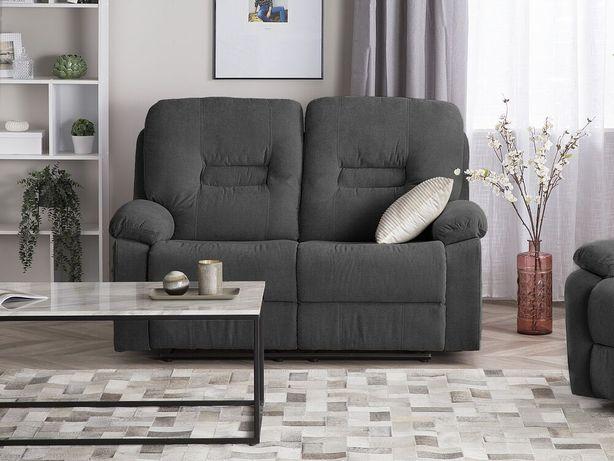 Sofá de 2 lugares reclinável em tecido cinzento escuro BERGEN - Beliani