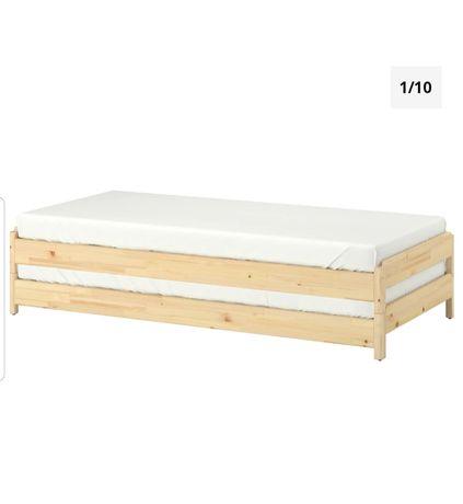 Łóżko pojedyncze Ikea drewniane z materacem