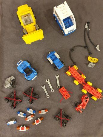 Lego Duplo pojazdy koparka policja motocykl quad traktor