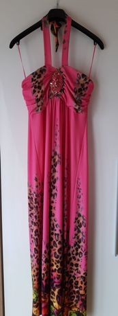 Sukienka różowa z motywem