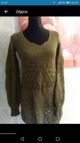 Nowy Ażurowy sweterek, dłuższy khaki, zielony rozmiar S/M