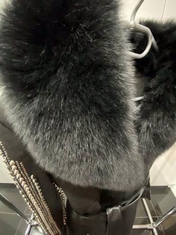 Płaszcz od projektanta prawdziwe FUTRO skóra wełna cekiny LUKSUS